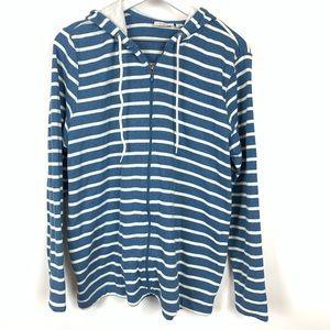 L.L.Bean   Full Sip Striped Hoodie Jacket